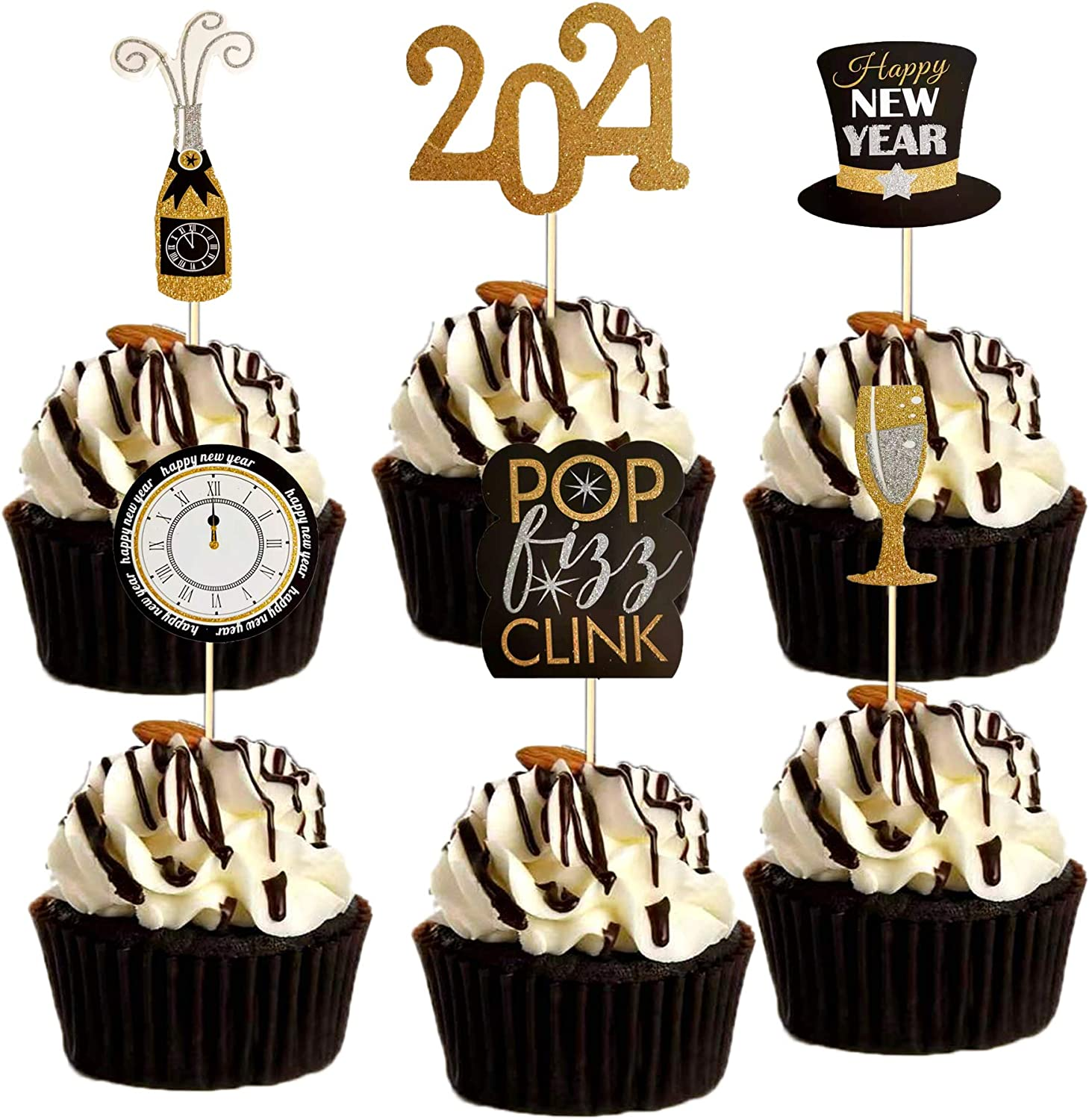 36PCS Happy New Year 2021 Cupcake Toppers - Gold Glitter Cake Dessert Decorations for New Year Eve Party