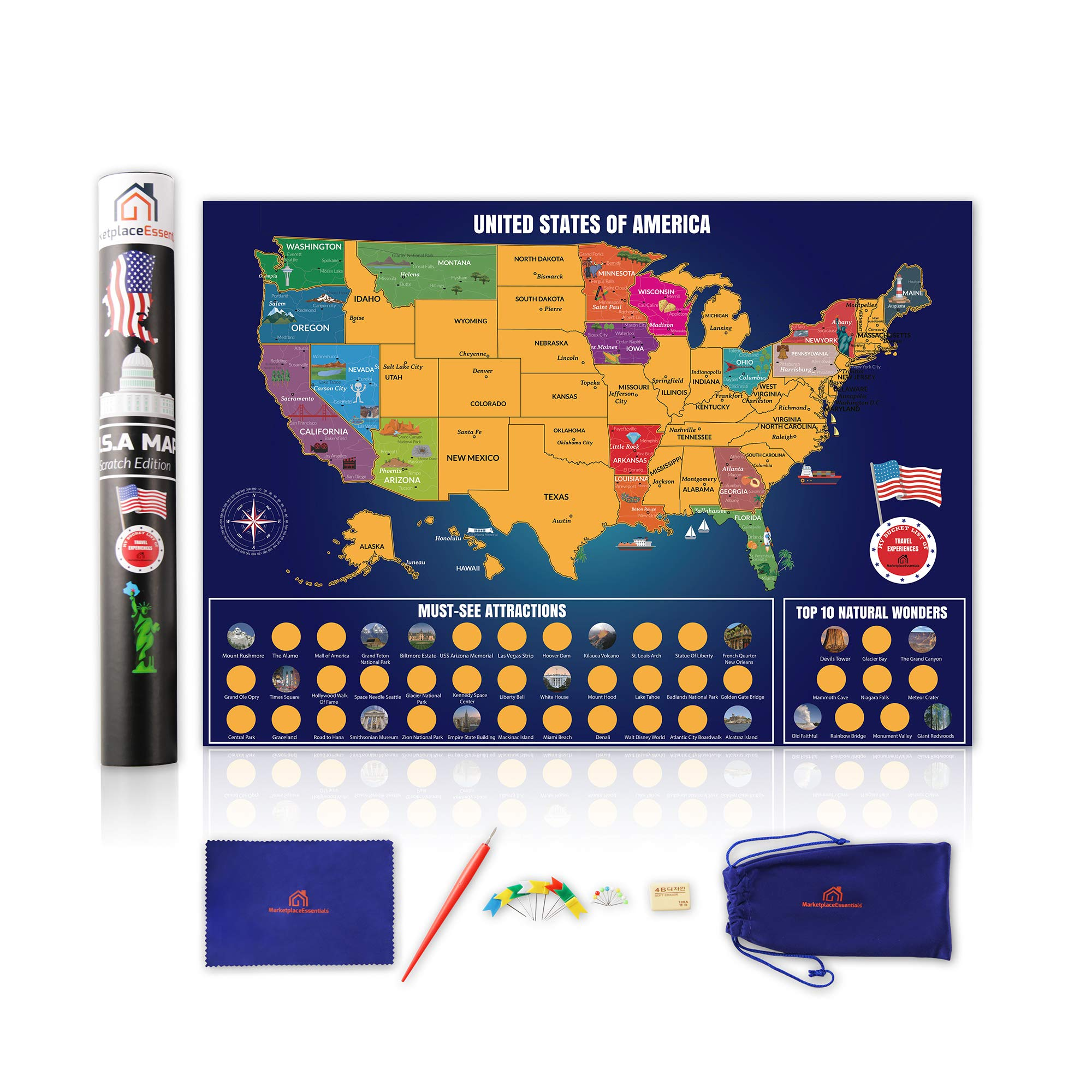 Scratch Off Map of The United States, Brilliant Color Travel US Map, Explore USA Attractions, Top 10 Wonders and National Parks, eBook Included