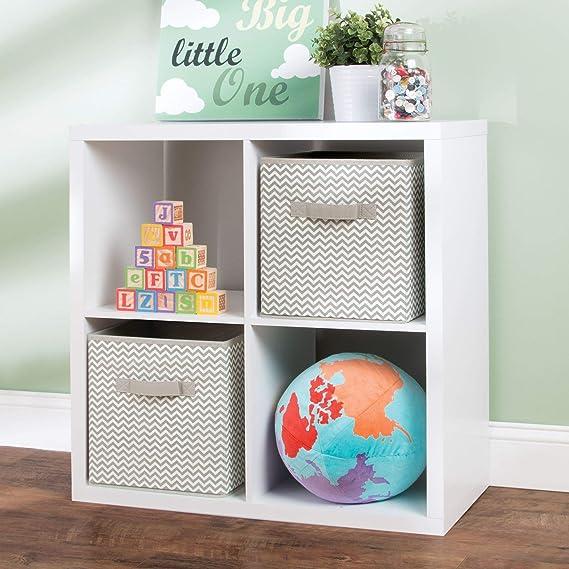 mDesign Caja para organizar juguetes - Caja de tela para artículos de bebé y niños - Organizador de tela para mantas, ropa o juguetes - Juego de 2 unidades ...