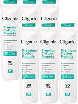 Cliganic Premium 600 Count Pure Cotton Rounds for Face