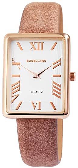 Reloj mujer Blanco Marrón Oro Rectángulo analógico de cuarzo piel Reloj de pulsera