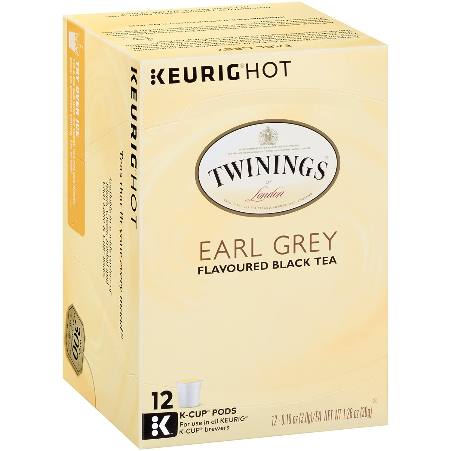 Twinings of London Earl Grey Tea K-Cups for Keurig, 12 Count (Pack of 6) - Packaging May Vary