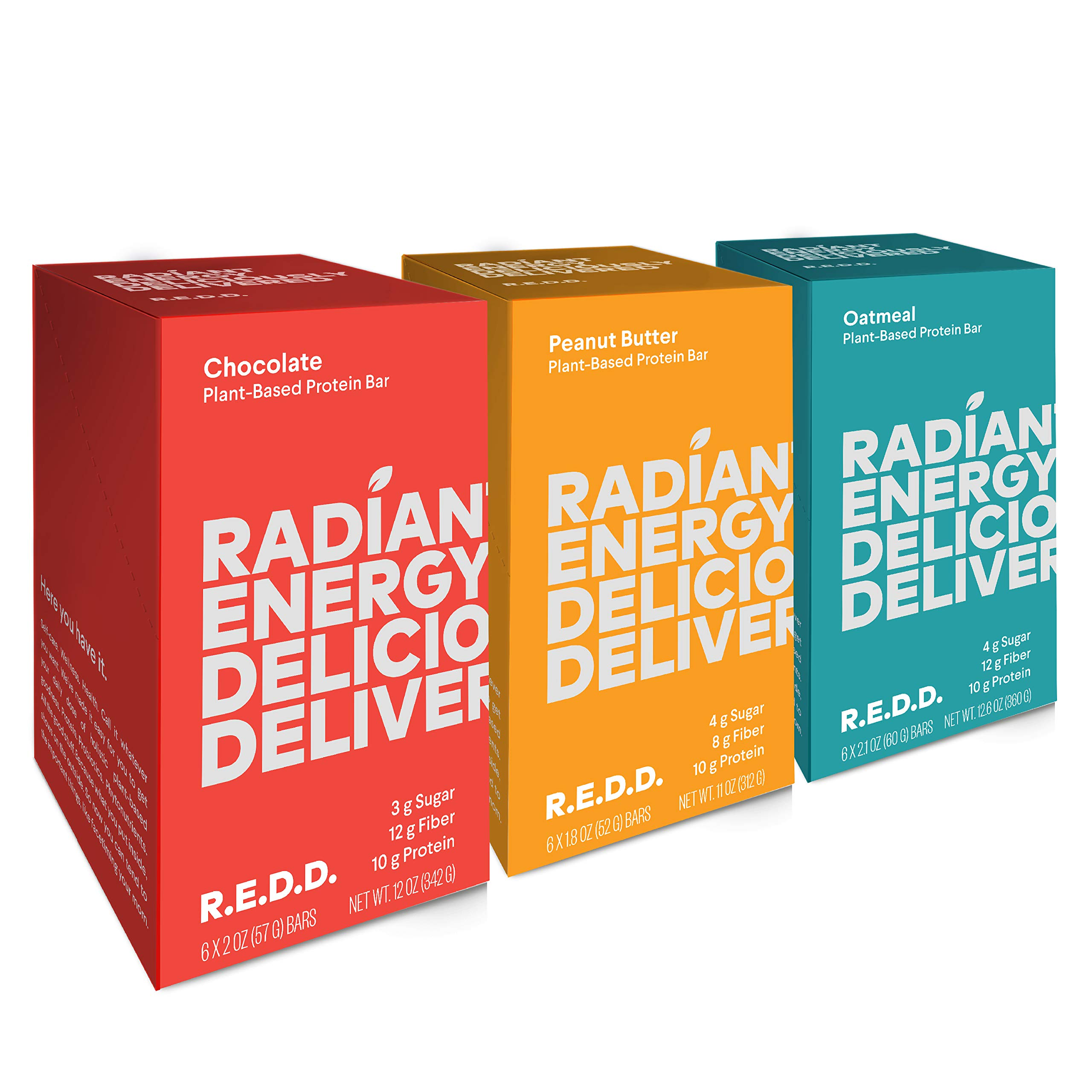 REDD Plant Based Protein Bar 18 Bar Variety Pack - 6 Chocolate, 6 Oatmeal, 6 Peanut Butter