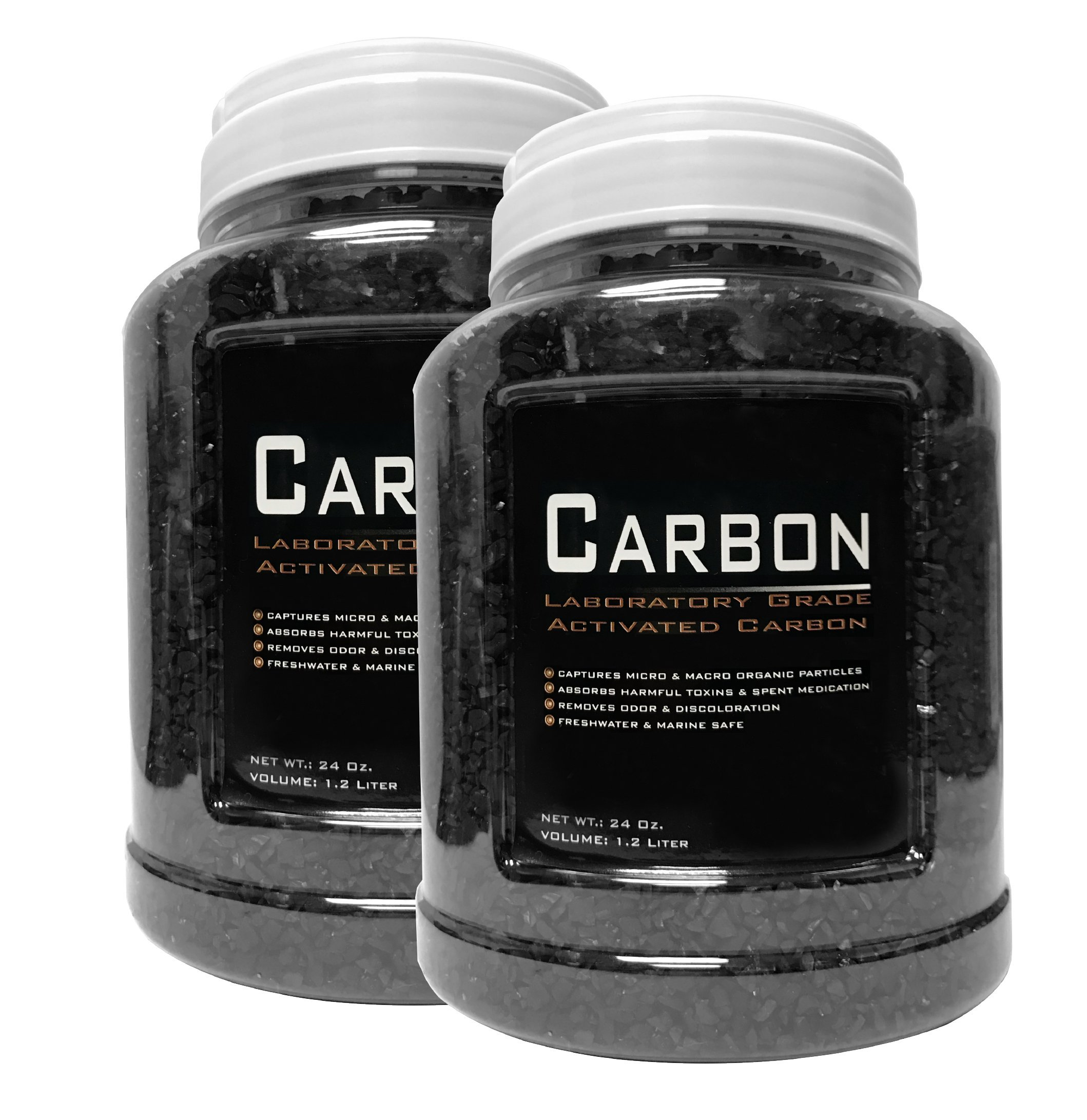Encompass All 2 Pack - 24 Ounce Premium Laboratory Grade Super Activated Carbon with Free Media Bag Inside Each Jar - AM Brand