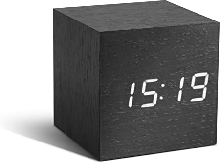 Gingko GK08W10 Click Clock Réveil Cube Noir LED Blanc