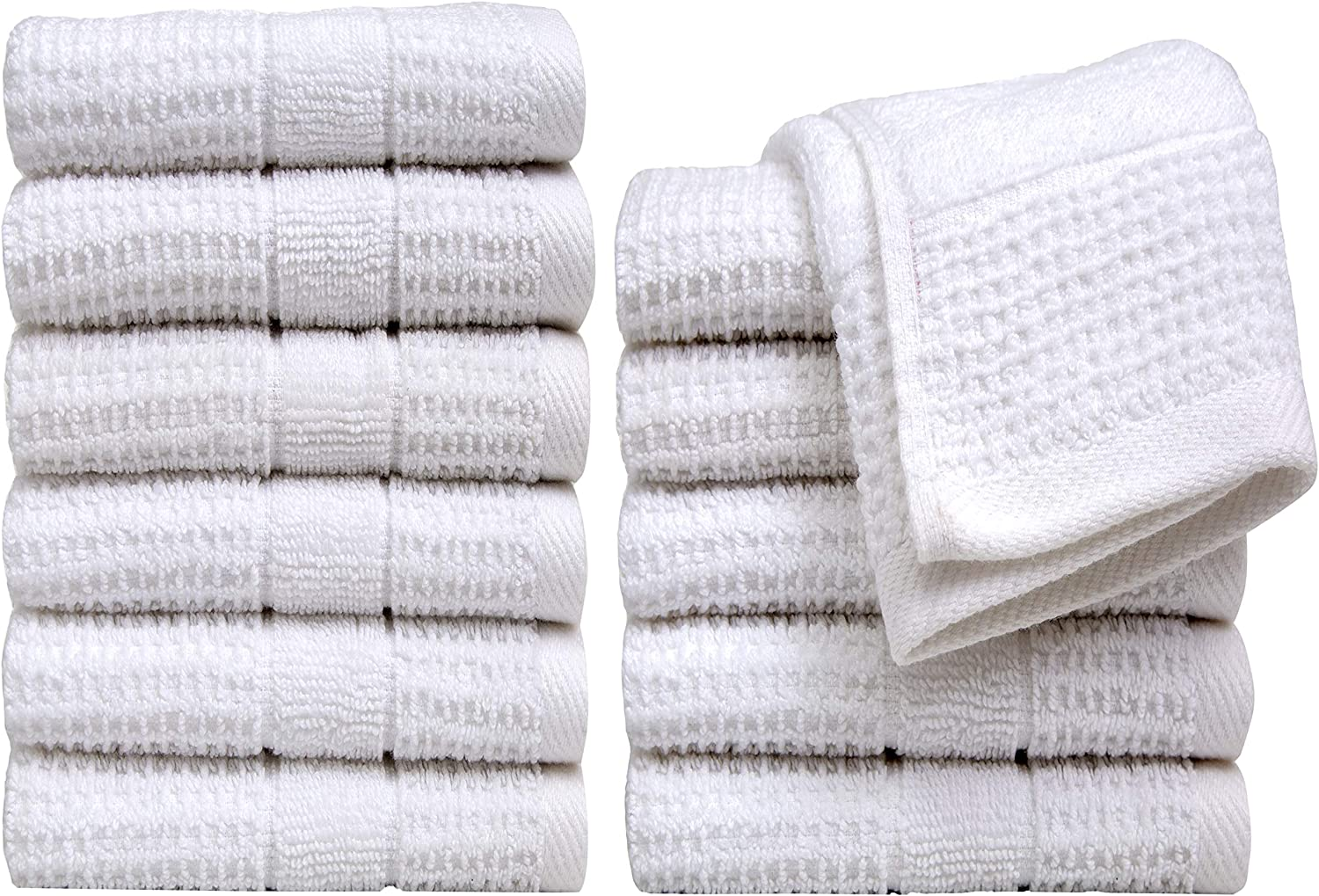 "Pleasant Home Washcloths Set - 12 Pack (12"" x 12"") – 488 GSM- 100% Ring Spun Cotton Wash Cloth - Super Soft and Highly Absorbent Face Towels (White, Waffle Design)"