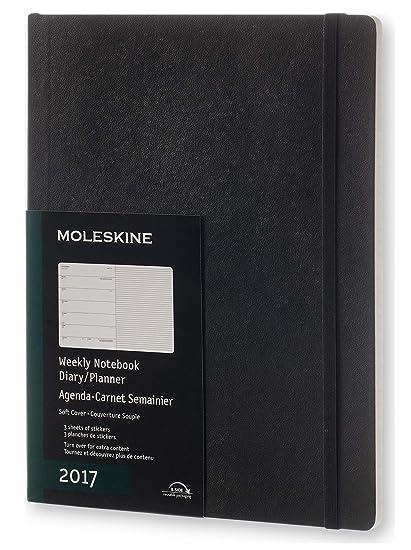 Moleskine DSB12WN4Y17 - Agenda semanal 12 meses, XL 19 x 25, color negro