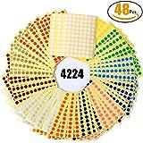 Klebepunkte farbig Witasm 48 Blätter Markierungspunkte Ø 8 mm Klebepunkte farbig 8mm Punkt-Aufkleber in 12 Farben rund Dot Aufkleber Punkte(4224 Punkte)