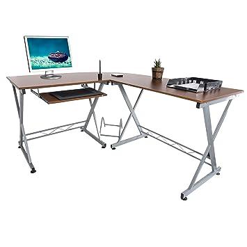 Harima - Mesa Esquinera para Ordenador Mueble Torre Escritorio Oficina Bixby Profesional en color Nogal con