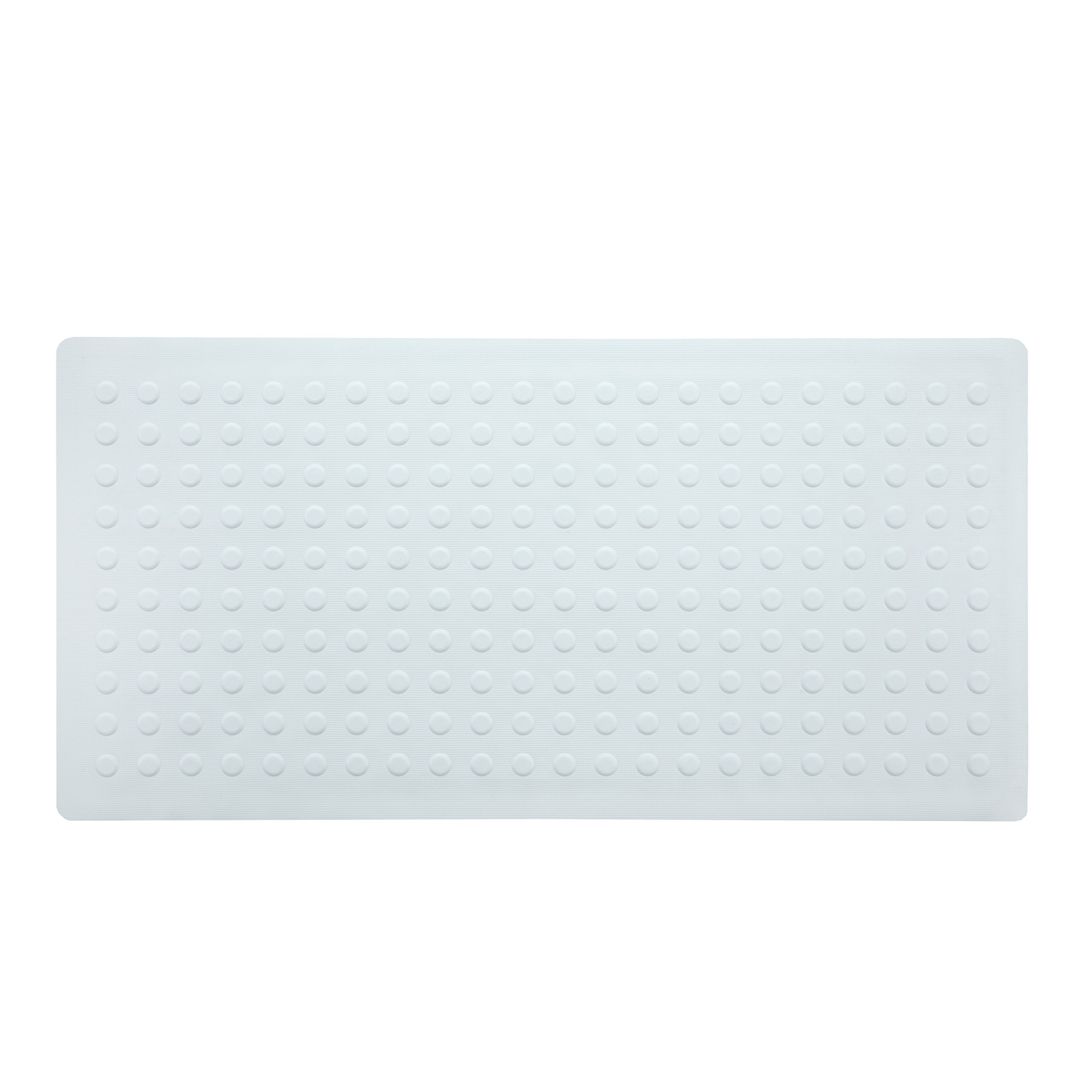 SlipX Solutions Mildew Resistant White Extra Long Rubber Bath Safety Mat Features Powerful Microban Antimicrobial Product Protection (220 Suction Cups, 36'' Long, Great Non-Slip Coverage)