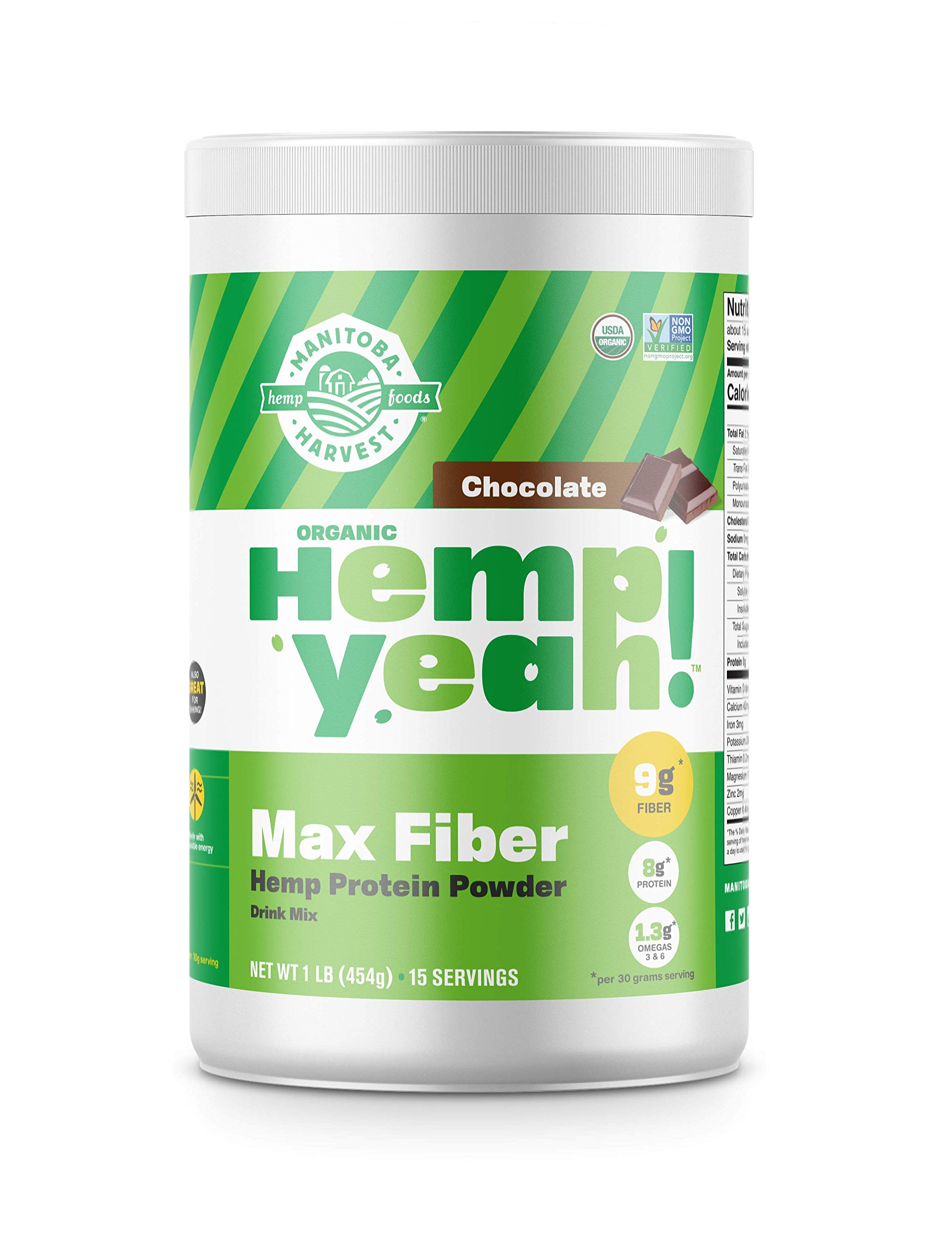 Manitoba Harvest Hemp Yeah! Organic Max Fiber Protein Powder, Chocolate, 16oz; with 9g of Fiber, 8g Protein and 1.3g Omegas 3&6 per Serving, Preservative Free, Non-GMO by Manitoba Harvest