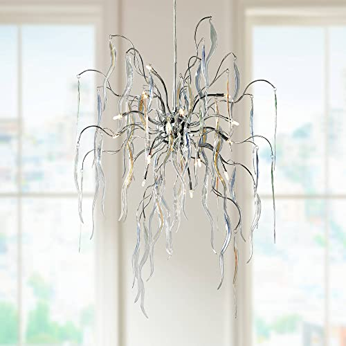 Chrome Chandelier 26 Wide Modern Icicle Art Glass 15-Light Fixture for Dining Room House Kitchen Island Entryway Bedroom Living Room – Possini Euro Design