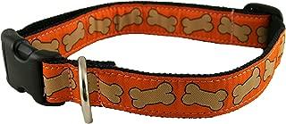 "product image for Bones Pattern Hemp Canvas Dog Collar (1"" Large, Orange)"