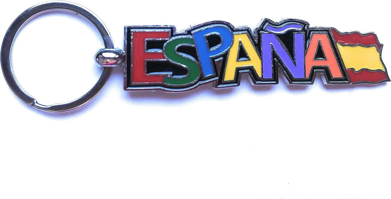 ValmoniSport Llavero Palabra ESPAÑA Letras Colores y Bandera de España 8cm Rojo y Amarillo Llaves Español Colgante: Amazon.es: Equipaje