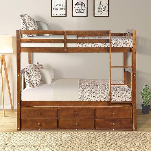 Rockjame - Litera doble de madera maciza para cama individual, diseño de ahorro de espacio, muebles de dormitorio con cama nido doble, escalera, barra de seguridad y 3 cajones para niños, niñas
