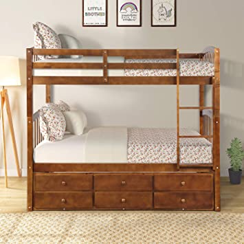 Amazon Com Bunk Bed Solid Wood Twin Over Twin Bunk Beds With