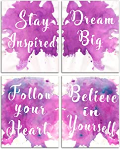 Positive Sayings Wall Decor Words - Motivational Posters Kids Painting Inspirational Pictures Office Classroom Abstract Empowerment Art Wall Pictures for Teenage Girl Bedroom Set 8x10inches No Frame