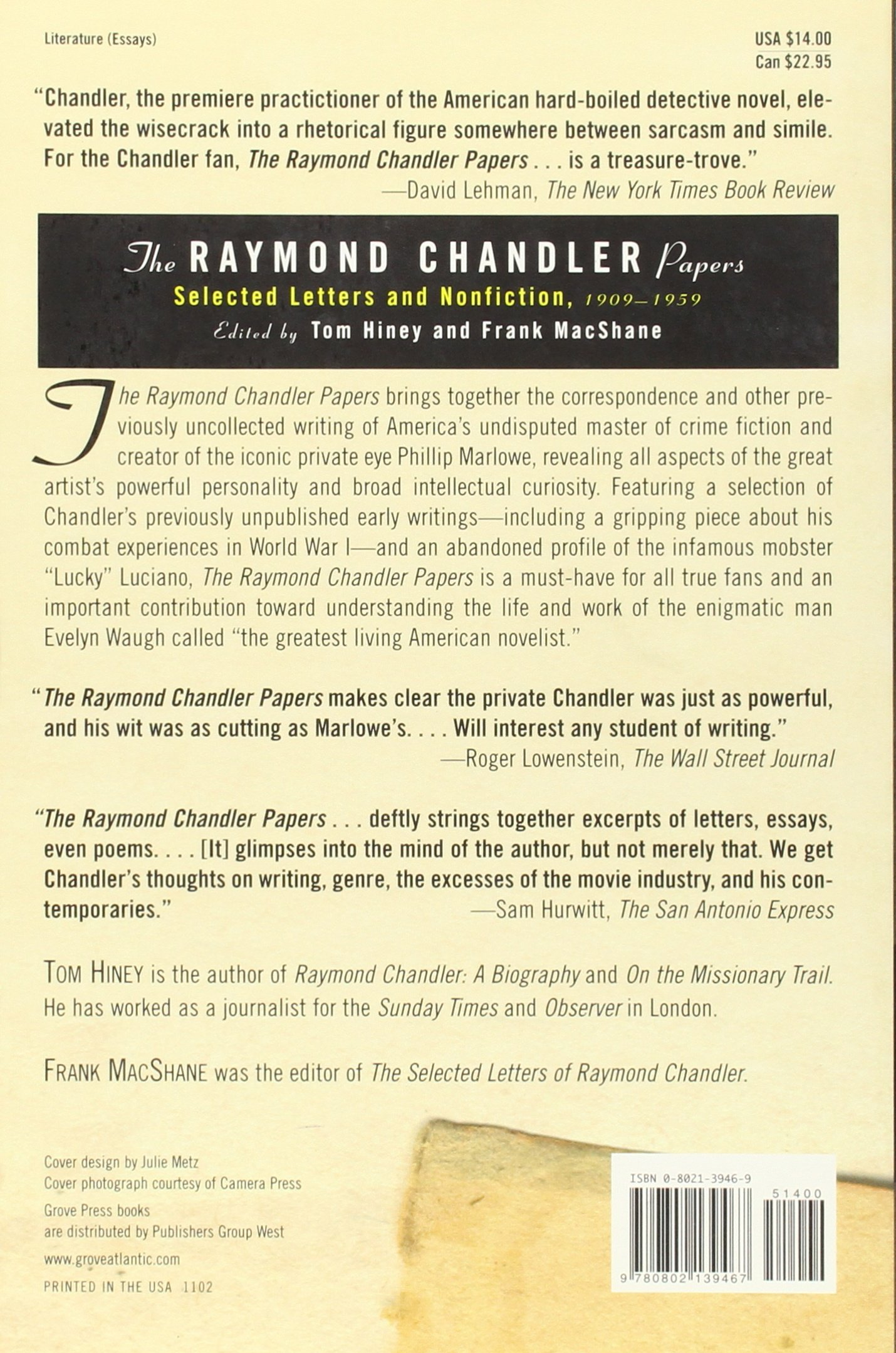 The Raymond Chandler Papers: Selected Letters and Nonfiction 1909 ...