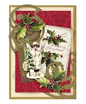 Handmade Dimensional Victorian Angel Christmas Cards Embellished With Glitter By Anna Griffin Set Of