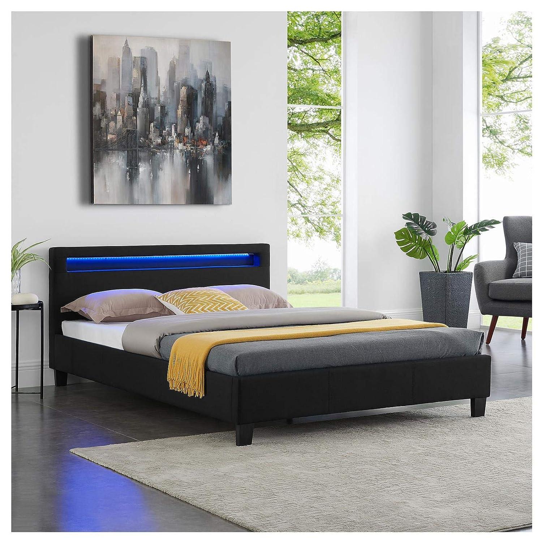 rev/êtement en Tissu Noir IDIMEX Lit Double pour Adulte Rioja Couchage 140 x 190 cm avec sommier 2 Places pour 2 Personnes t/ête de lit avec LED int/égr/ées