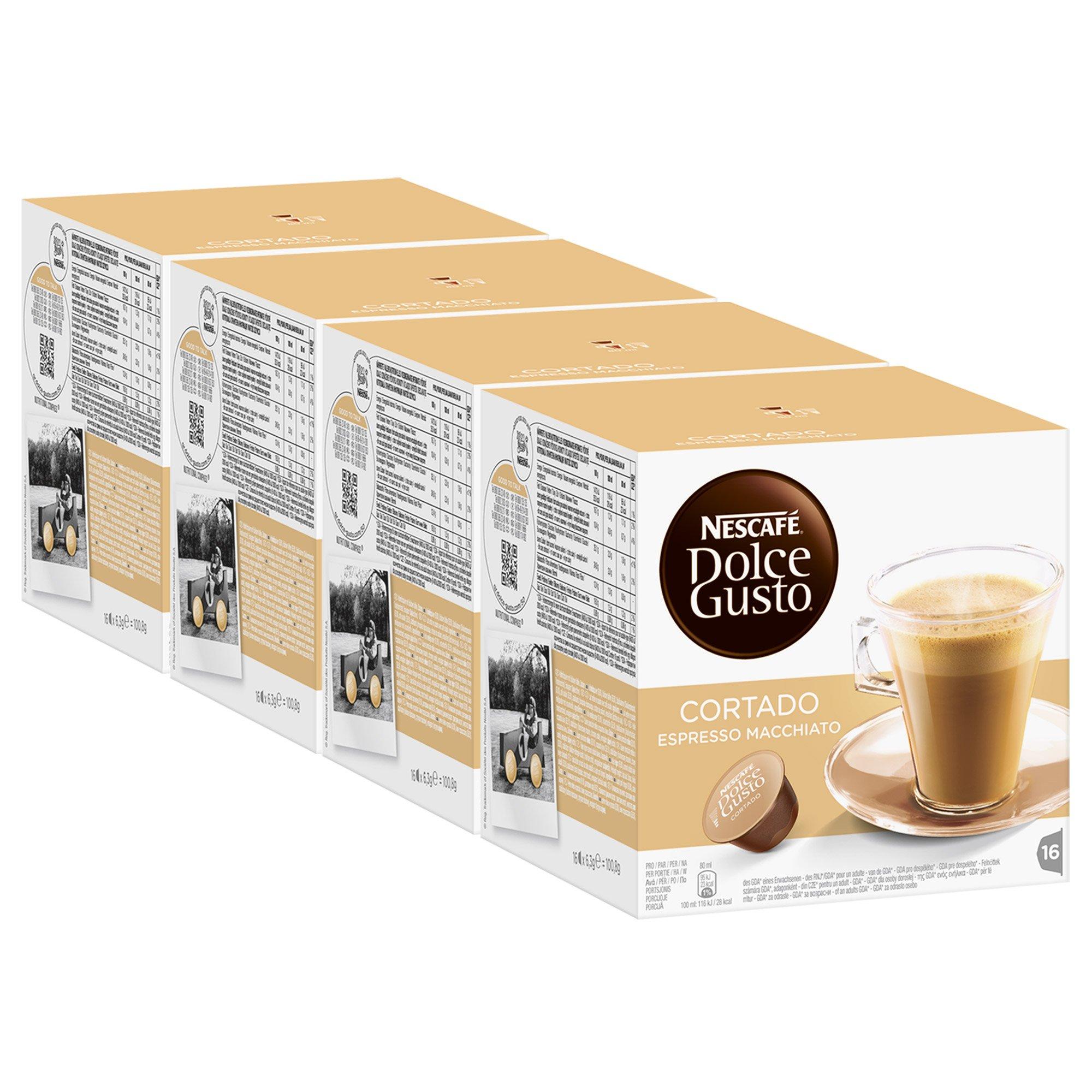 Nescafé Dolce Gusto Cortado Espresso Macchiato, Pack of 4, 4 x 16 Capsules