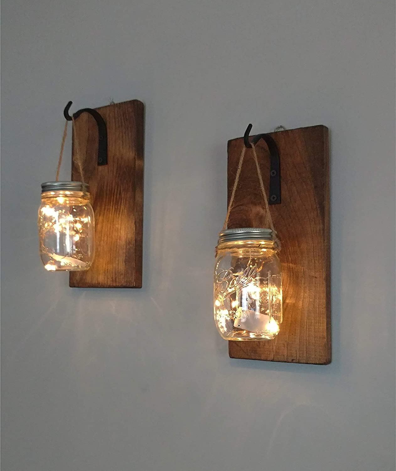 Set of 2 rustic hanging mason jar sconces wrought iron hooks hanging lighted mason jar wall sconces