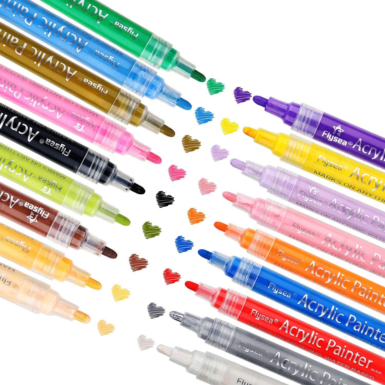 GMFIVE Acrylstifte Marker Stifte 15 Farben Wasserfest Acrylstifte f/ür Steine Bemalen Acrylfarben Stifte f/ür Kinder DIY Fotoalbum Keramik Glas Porzellan Metall Kunststoff Holz Leinwand Leder Papier