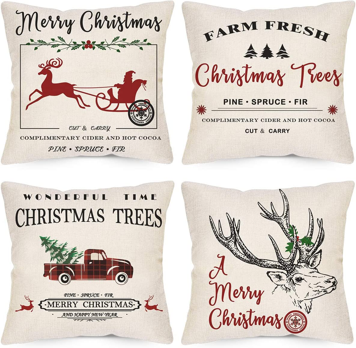 Laveve Christmas Pillow Covers Set Of 4 Cotton Linen Merry Christmas Reindeer Gharry Pillow Covers 18x18 Inch Farm Fresh Christmas Tress Car Cushion Case For Couch And Bed Amazon Co Uk Kitchen Home