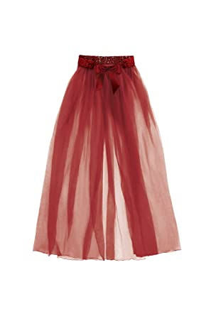 0a037bafc7 Image Unavailable. Image not available for. Color: Fantasy Lingerie Jean Tulle  Maxi Skirt OS Wine Red