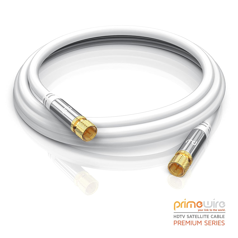 blindaje m/últiple 135 dB//Resistencia: 75 ohmios En /ángulo 90/° CSL-Computer 2,0m Cable de Antena//Sat Blanco Conector F a Conector F Cable coaxial Premium Cable HDTV//Full HD