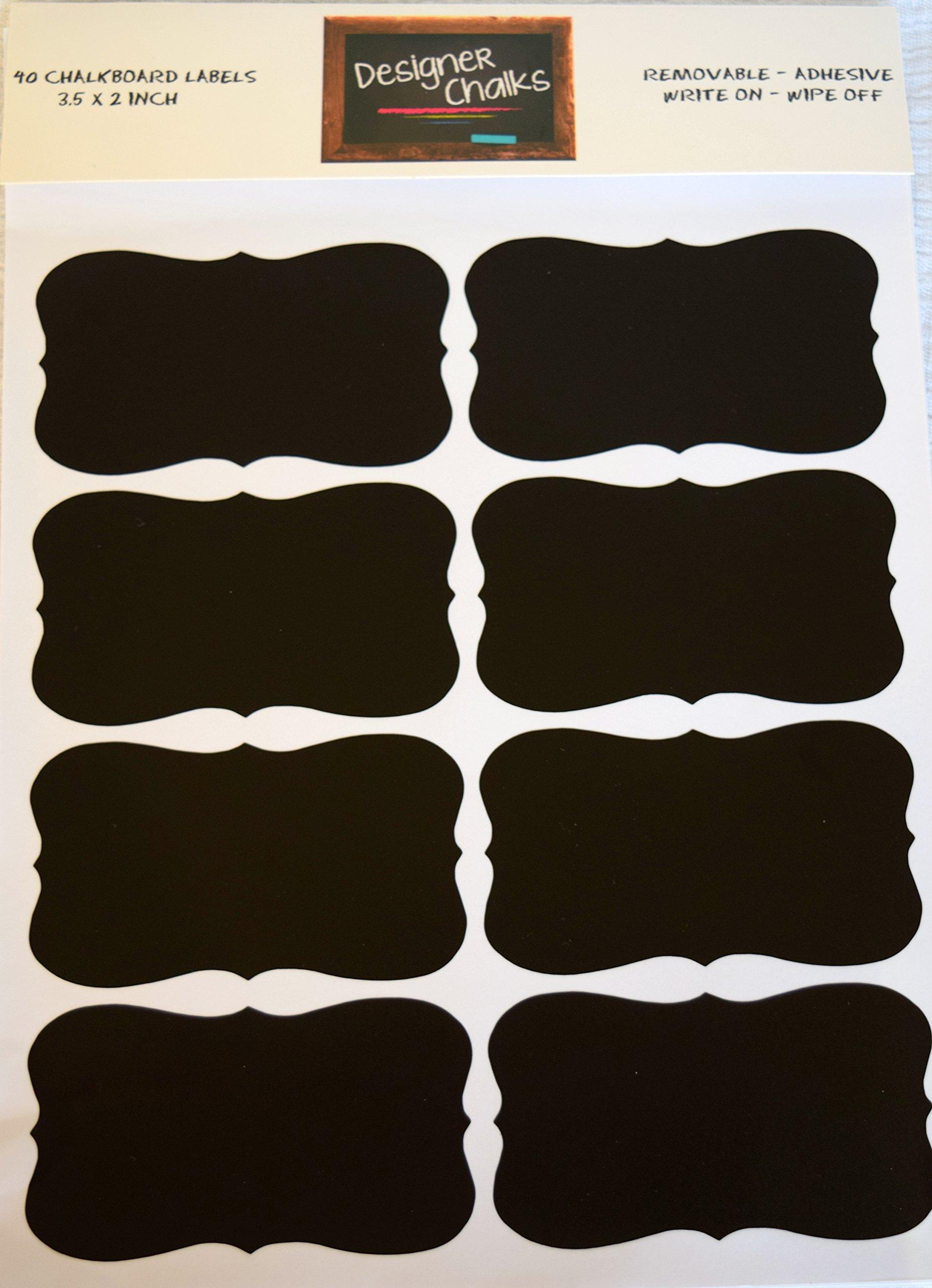 Designer Chalks Premium Chalkboard Adhesive Vinyl Labels Large Set of 40 3.5 X 2 inch Chalk Label Stickers Organization