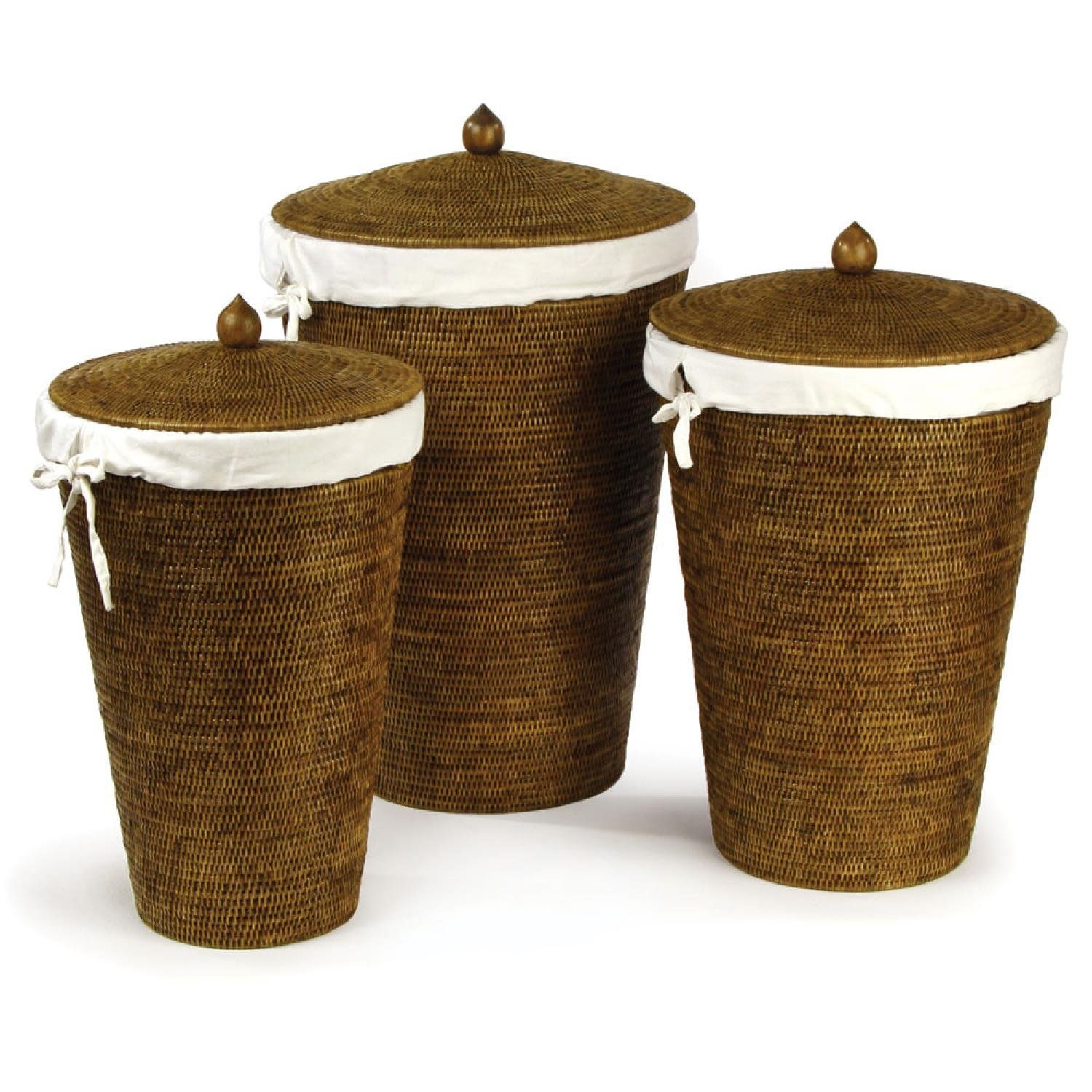 Set of 3 Handcrafted Burmese Rattan Laundry Hampers 26.5""