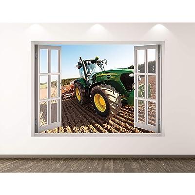 "West Mountain Green Tractor Wall Decal Art Decor 3D Window Truck Sticker Mural Kids Room Custom Gift BL260 (30"" w x 22"" H): Home & Kitchen"
