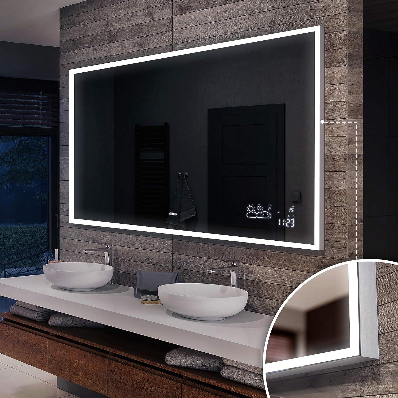 Wohnzimmer Artforma 9x9cm Wandspiegel mit LED Beleuchtung für