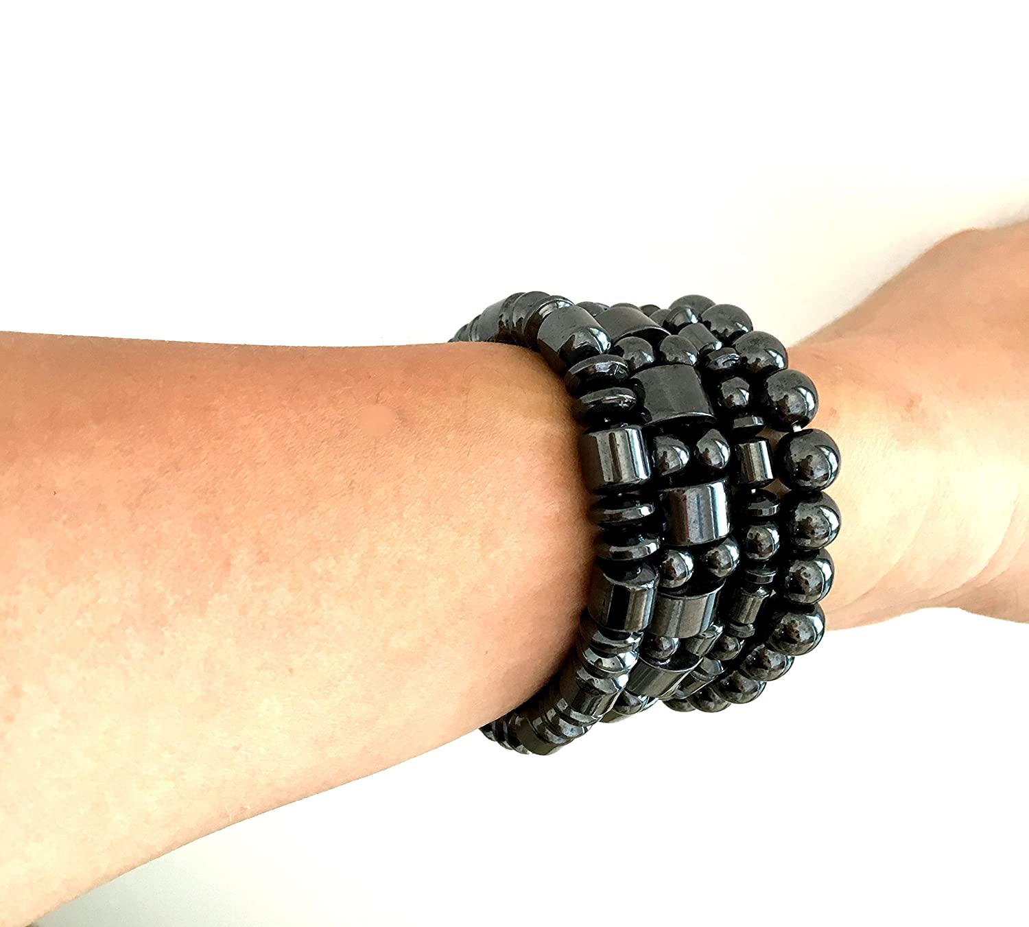Set of 4 Hematite Powerful Magnetic Bracelet for Arthritis Pain Releif or for Sports Related Therapy