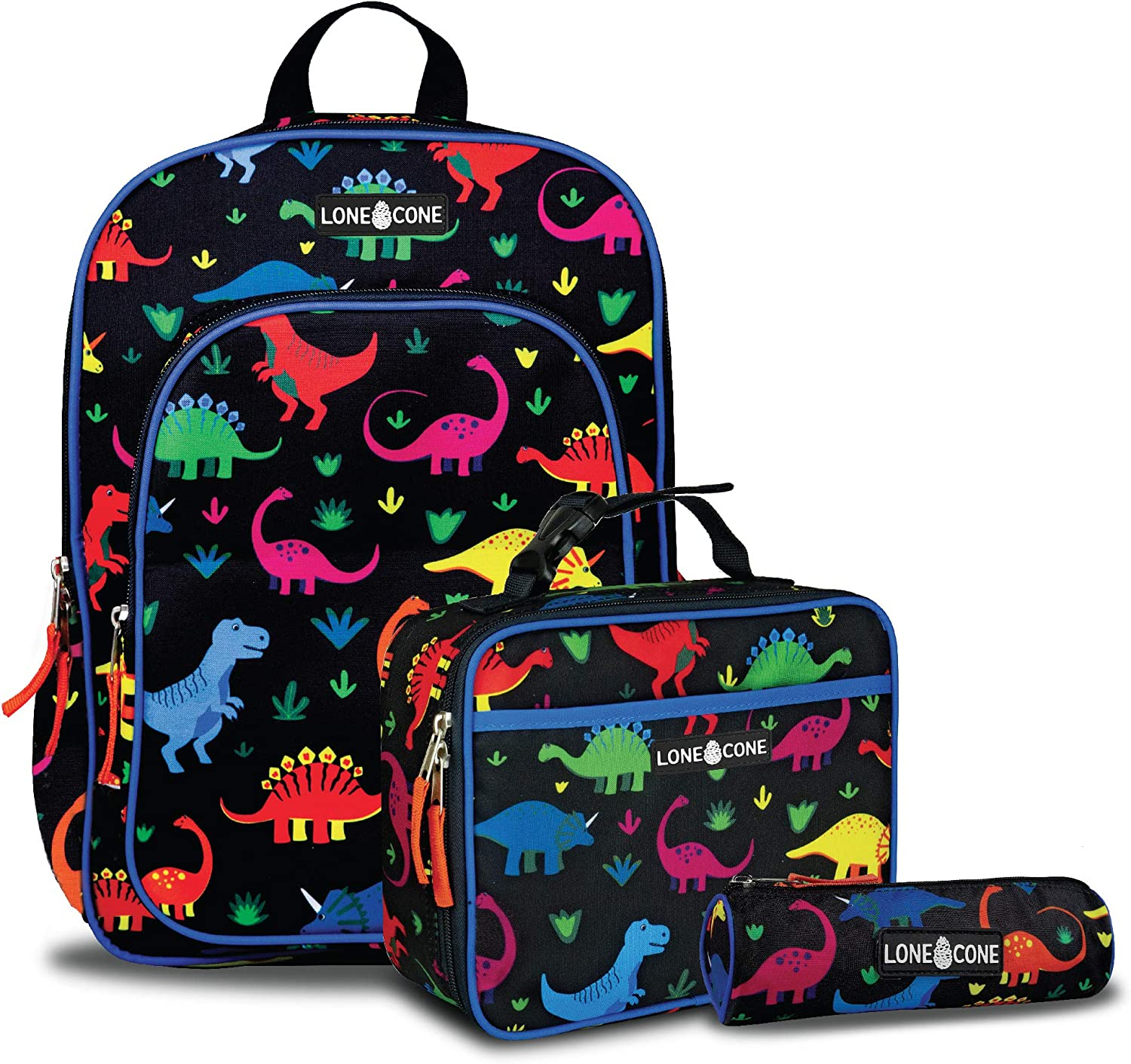 LONECONE Kids' 3-Piece Back to School Kit - Backpack, Lunchbox & Pencil Case- Fossil Friends