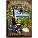 Lantern Press Oregon - Pinot Noir 49202 (6x9 Aluminum Wall Sign