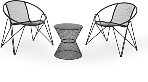 Great Deal Furniture Janice Modern Outdoor Iron Chat Set