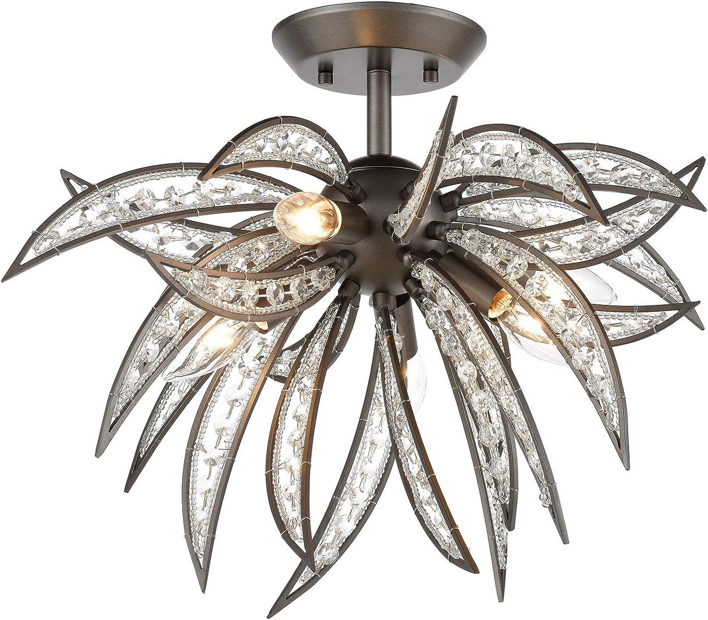 elk lighting 16362 5 naples 5 light dark graphite with clear crystal semi flush mount