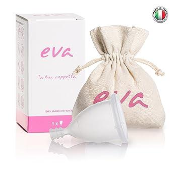 Eva - Copa Menstrual Super-Soft de silicona platino antialérgica - 2 tallas y 2 colores (Small, Transparente) MADE IN ITALY: Amazon.es: Salud y cuidado ...