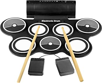 Pyle Electronic Roll Up MIDI Drum Kit W/ 9 Electric Drum Pads, Foot Pedals, Drumsticks, & Power Supply | Quick Setup | Tabletop Roll Up Drum Kit |...