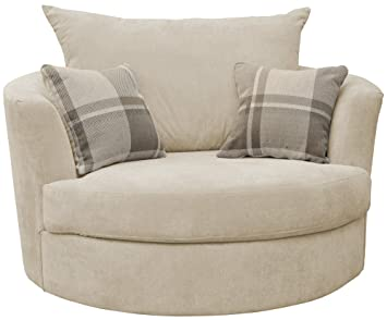 large swivel round cuddle chair fabric cream amazon co uk
