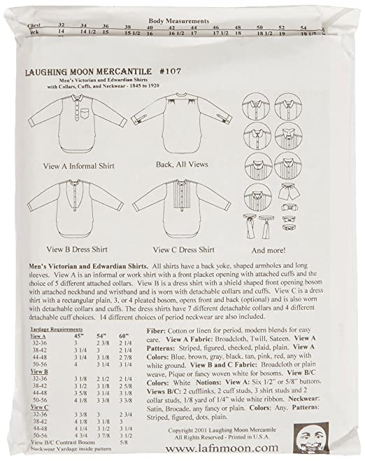 Laughing Moon 107 : Men\'s Victorian /& Edwardian Shirt /(1845-1920 ...
