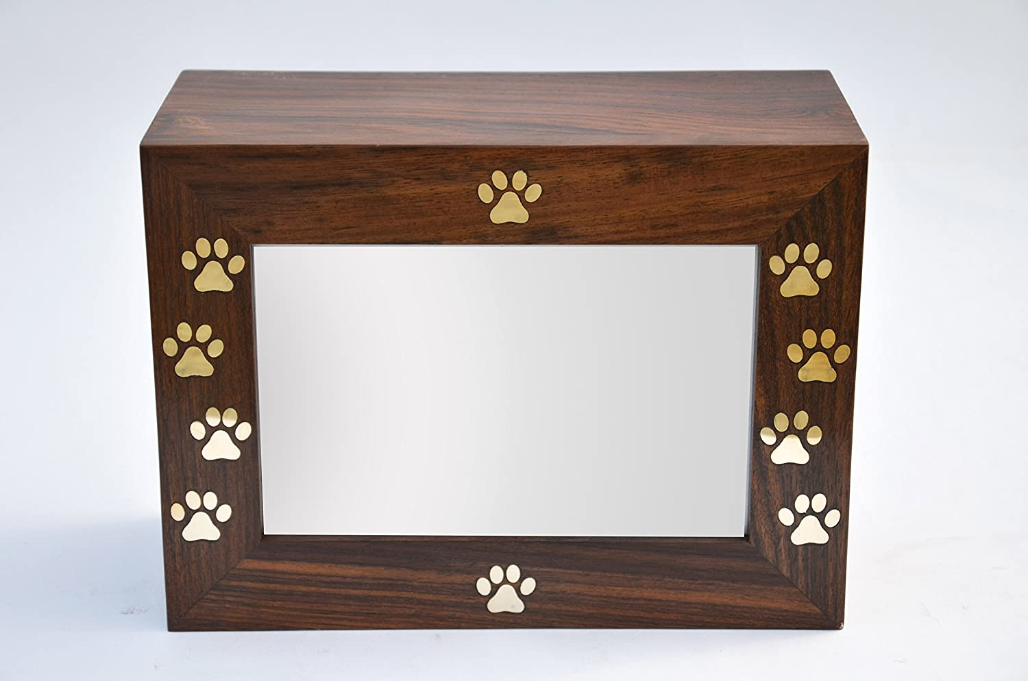 STAR INDIA CRAFT Brass Paws Inlaid Cremation Urns for Ashes Photo Frame Rosewood Pet Urns for Dogs Keepsake Your Memories Alive with Wooden Keepsake Box,A Perfect Wooden Box for Your Loved Ones