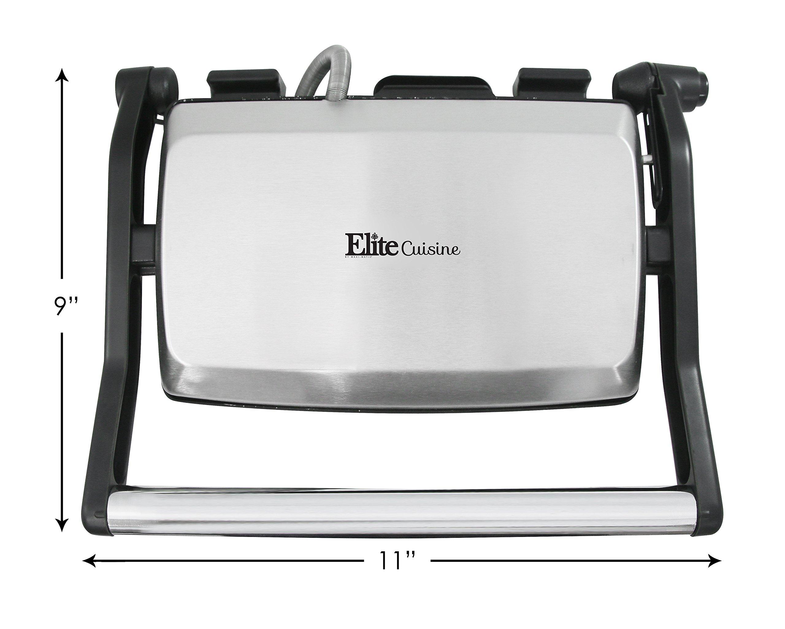 Elite Cuisine EPN-2976 Maxi-Matic Panini 180 Degree Indoor Contact Grill, Black