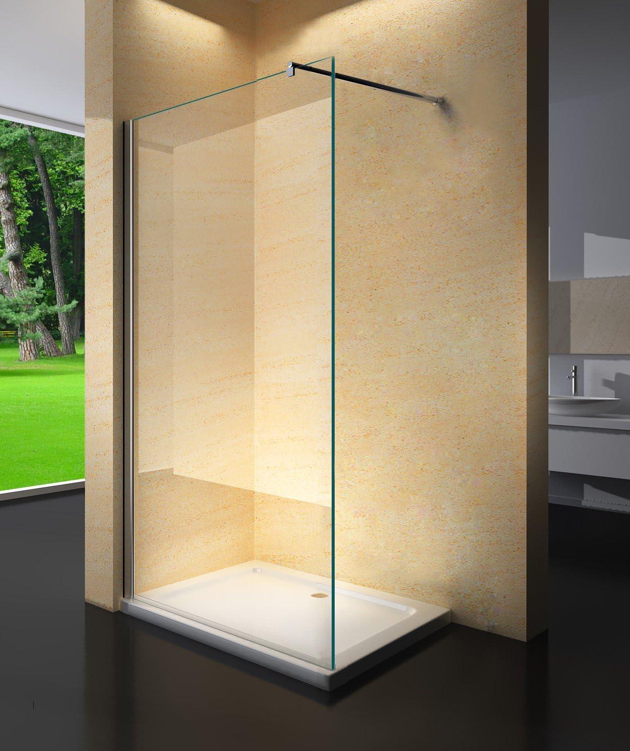 Yellowshop – Cristal para cabina de ducha fija Walk-in, mate, de 8 mm, transparente o con puntos.Medidas 70, 80, 100, 120 , y 140 cm., transparente: Amazon.es: Bricolaje y herramientas
