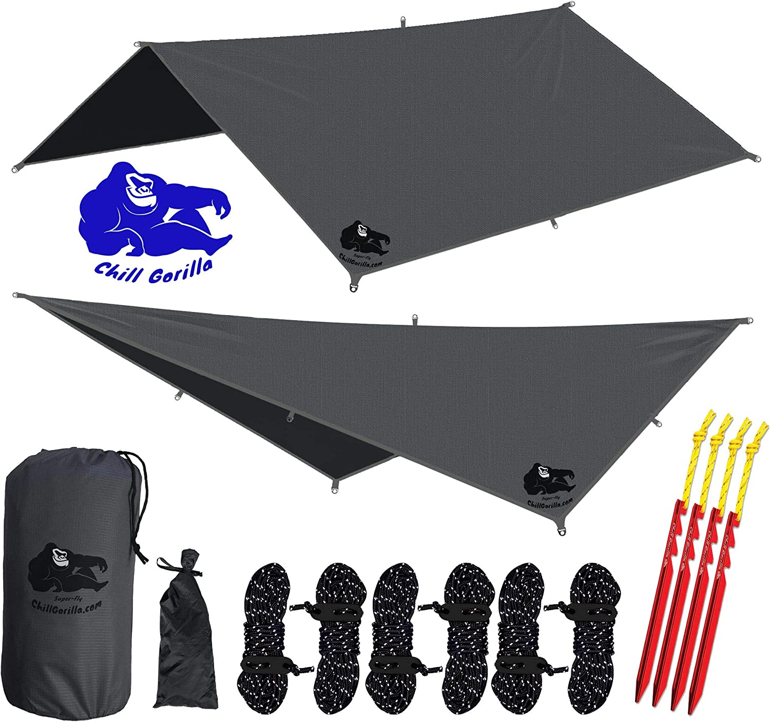 "Chill Gorilla 10x10 Hammock Rain Fly Camping Tarp. Ripstop Nylon. 170"" Centerline. Stakes, Ropes & Tensioners Included. Camping Gear & Accessories. Perfect Hammock Tent. Multiple Colors."
