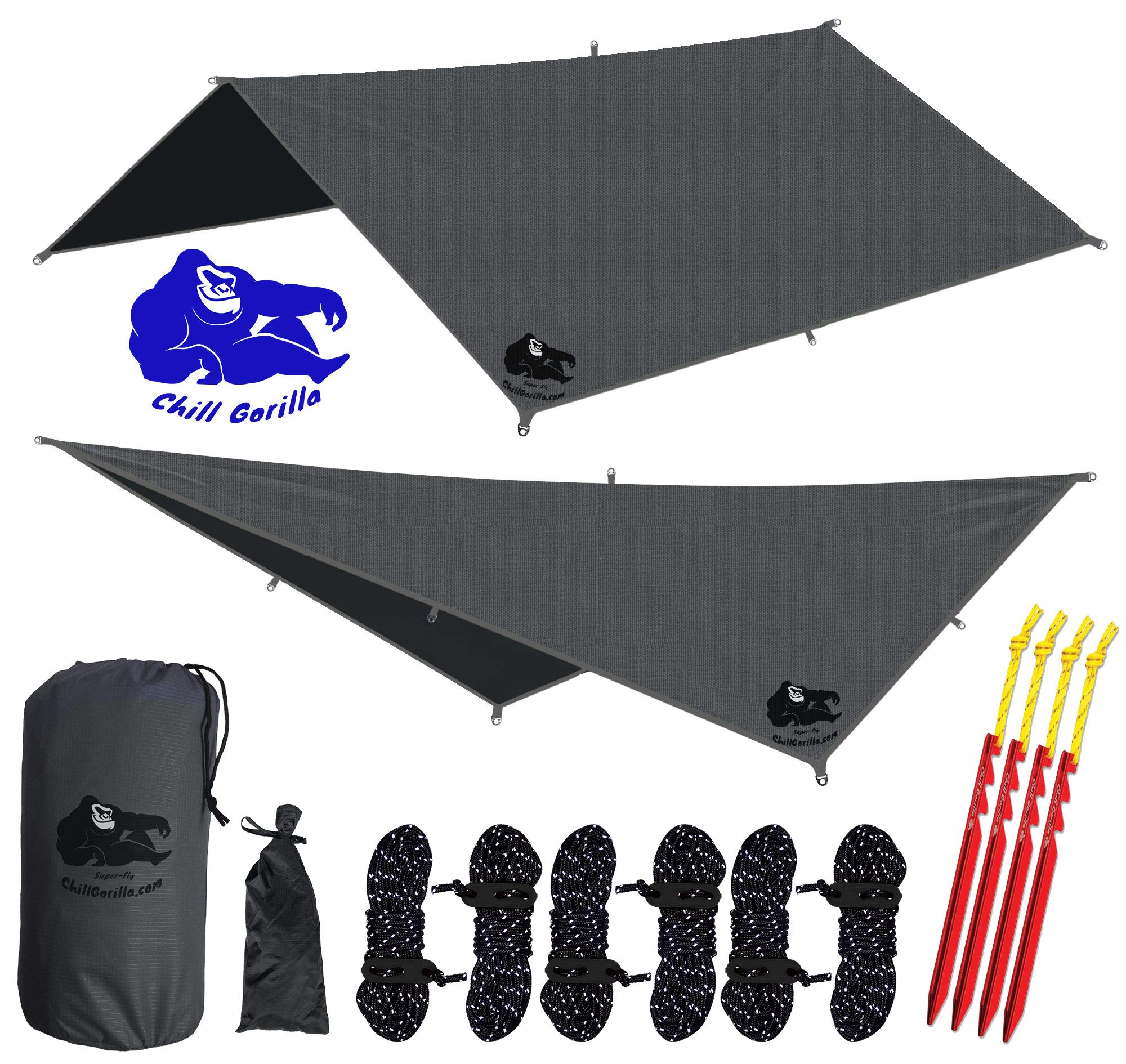 Chill Gorilla 10x10 Hammock Rain Fly Camping Tarp. Ripstop Nylon. 170'' Centerline. Stakes, Ropes & Tensioners Included. Camping Gear & Accessories. Perfect Hammock Tent. Gray by Chill Gorilla