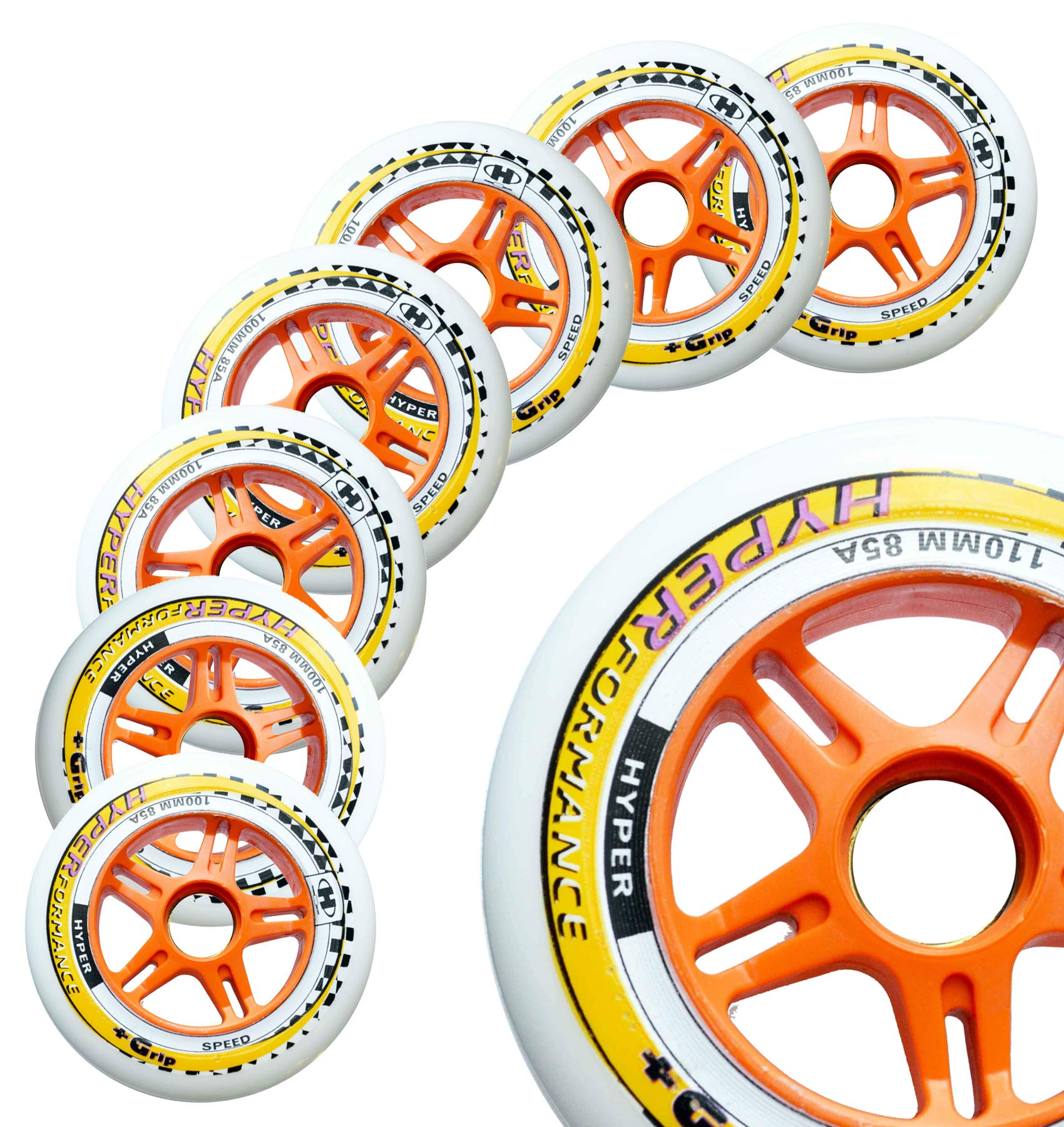 Inline Race Skate Wheels Hyper HYPERFORMANCE+G - 8 Wheels - 85A - Sizes: 84MM, 90MM, 100MM, 110MM - Speed Skating, Fitness and Outdoor Recreational Wheels (110MM)
