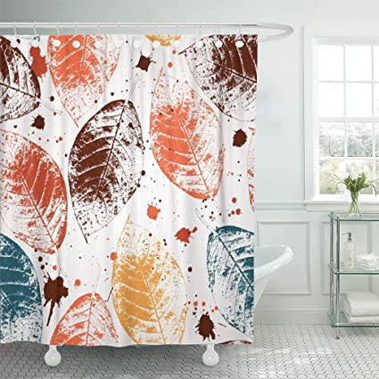 TOMPOP Shower Curtain Blue Leaf Colored Autumn Leaves And Blots Orange Fall Waterproof Polyester Fabric 72